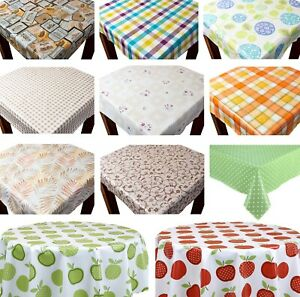 PVC Wipe Clean Tablecloth Vinyl Printed Various Designs and Sizes