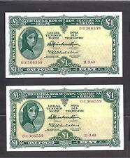 Ireland p-64a , UNC, 1 Pound , 1963,  Lady Lavery , Auction For One! note