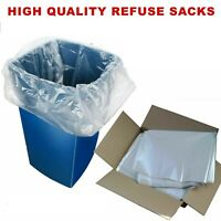 HEAVY DUTY MEDIUM DUTY CLEAR REFUSE SACKS / BAGS BIN LINERS BAG 160 GAUGE