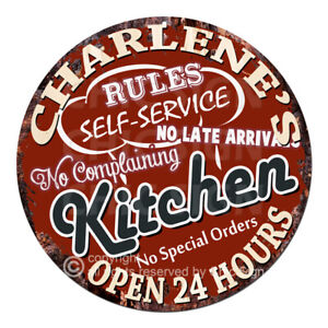 CWKR-0220 CHARLENE'S KITCHEN Funny Rules Sign Mother's day Gift Ideas For Woman