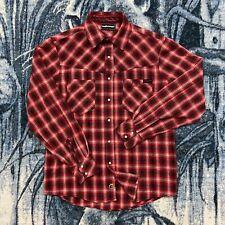 Flannel Shirt Snap Button Heavy Cotton Plaid Long Sleeve Medium The Hundreds