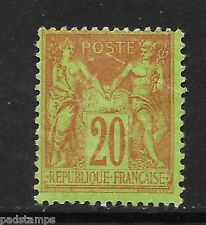 France 1884 20c red/yellow green P&C type II N under U mint hinged SG 260