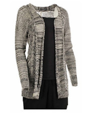 Leo & Nicole Ladies Marled Rib Trim Pointelle Cardigan Estate Tan/black Marl 2xl