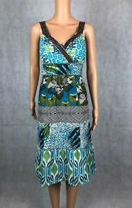 Monsoon Multicoloured African Style Drop Hem Midi Shift Dress - UK 10 / EUR 38