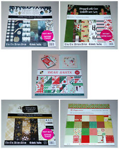 Christmas & Winter 12x12 Scrapbook Paper Lot - Recollections, DCWV, Crate Paper