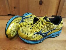Mizuno Womens Wave Rider 15 Yellow Blue Running Shoes Size US 8.5 EUR 39