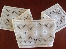 VINTAGE HAND EMBROIDERED CREAM COTTON RUNNER TABLE CLOTH