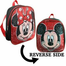 "MOSQ Mickey & Minnie Small Backpack with Reversible Sequins 12"" x 10"""