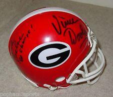 VINCE DOOLEY & BUCK BELUE Signed/Autographed GEORGIA BULLDOGS Mini Helmet w/COA