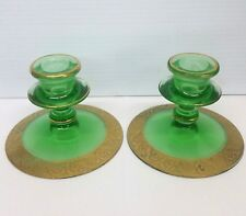Vintage Decorative Translucent Green Glass and Gilt Gold Candle Holders