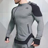 Men Zipper Jacket Long Sleeve Bodybuilding Sweatshirts Gym Muscle Fit Clothes