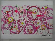 Phil Pierre - PINK BUBBLES 016 - new original abstract painting on cotton canvas