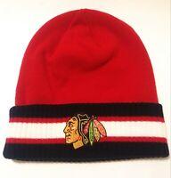 Chicago Blackhawks NHL Logo Reebok Red Black Winter Beanie Knit Hat Cap New
