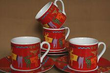 Espresso Cups & Saucers 8 pc. Riviera Van Beers Signature Stoneware Thailand