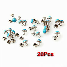 20 x Turquoise Studs Jewelry Rivets Hollow Rivets Blue DIY Round Rivets 7 m A3O6