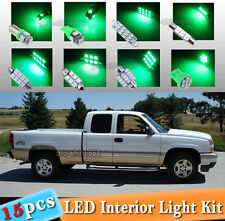 15-pc Green LED Car Interior Light Package Kit Fit 1999-2006 Chevrolet Silverado