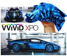 "3ft x60"" Blue supercast chrome vinyl car wrap DIY sheet roll film adhesive decal"