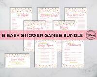 Baby Shower Games Pink And Gold Stars Bundle SetInstant PDF Download Printable