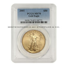 2001 $50 Gold Eagle PCGS MS70 Flawless American Gold Bullion coin 1 ounce 22-KT