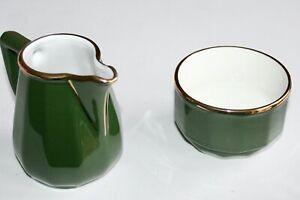 GORGEOUS APILCO GOLD & GREEN COFFEE POT MILK/CREAM JUG  & SUGAR BOWL VGC!