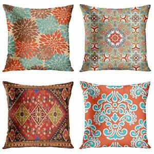 4 Set Throw Pillow Covers 18x18 Decor Outdoor  Pillow Cases Bohemian For Sofa