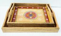 Wood Tray Serving Tray Handmade Unique Colorful Embossed Painted Home Set of 2