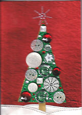 Papyrus Christmas Card Nip Msrp $12.95 Button Tree Card (H2)