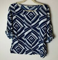 Old Navy Women's Top Size Medium Roll-Tab Sleeves Casual Blue White Semi-Sheer