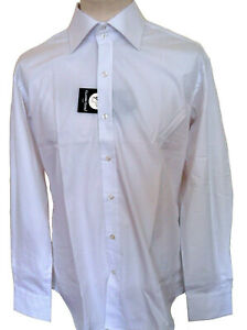 Men's Plain Shirt White Slim Fit Long Sleeve Sizes: XL & XXL Claudio Lugli