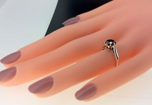 STUNNING STERLING SILVER 925 1.00CT BLACK DIAMOND SOLITAIRE RING SIZE L 1/2