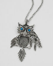OWL pendant necklace articulated blue eyes figural animal jewelry silvertone New