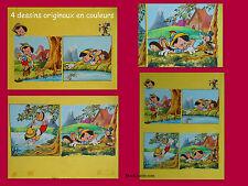 PINOCCHIO - COLLODI & DISNEY - UNE PLANCHE DE 4 DESSINS ORIGINAUX EN COULEURS !!