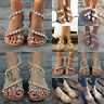 Womens Bohemian Pearl Sandals Summer Beach Rhinestone Flat Ring Toe Shoes Size
