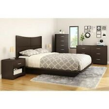 4 Pc Queen Full Bedroom Furniture Set Bed Storage Dresser Nightstand Brown