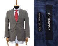 Mens SUITSUPPLY Blazer Coat Jacket Wool Striped Grey Size 38 48