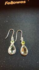 Shivam Made in India .925 Sterling Silver Peridot Green Amethyst Earrings - NEW
