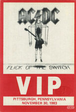 AC/DC 1983 FLICK/SWITCH TOUR Backstage Pass PITTSBURGH