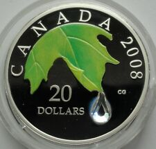 CANADA $20 DOLLARS 2008 - MAPLE LEAF CRYSTAL RAINDROP PROOF SILVER