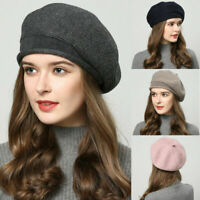 women Beret Knitted Crochet Cap Winter Beanie Hat Warm  Slouch Baggy Lady Girl