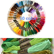 50pcs Colors Cotton Embroidery Thread Cross Stitch Embroider Floss Sewing Skeins