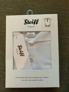 STEIFF: KURZARM BODY, Einteiler Weiß Gr. 80 Polo Kragen Neu mit Etikett