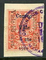 Nicaragua 1911 Railroad Revenue 5¢/10¢/1¢ On Piece Managua CDS Sc 291 VFU Q446
