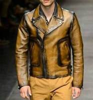 Mens Designer Biker Yellow Waxed Real Leather Jacket