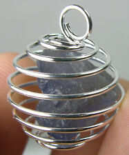 Africa Natural Raw Violet Blue Pleochroic iolite Crystal In Spiral Cage Pendant