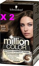 LOT 2 SCHWARZKOPF MILLION COLOR COLORATION TEINTURE COULEUR 5_0 CHATAIN INTENSE