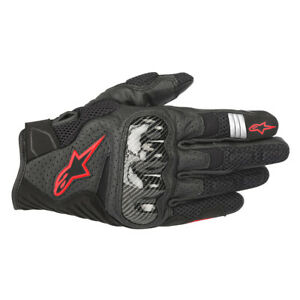 Alpinestars SMX-1 V2 Air Motorbike Motorcycle Sports Gloves Black Red Fluo