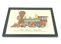 Vtg Evelyn Curro Hand Color Print Locomotive 'The Governor Stanford' Framed Rare