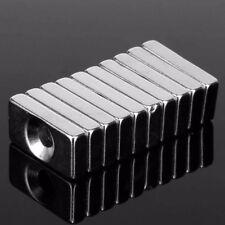 10pcs N35 20*10*4mm Neodym Quadermagnet 2x Bohrung 3mm mit Senkung für Schraube