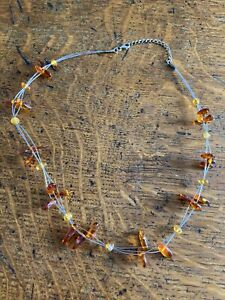 925 silver amber necklace. 18 Inches