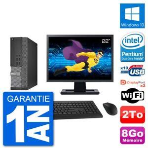 """PC Dell 7020 SFF Ecran 22"""" Intel G3220 RAM 8Go Disque Dur 2To Windows 10 Wifi"""